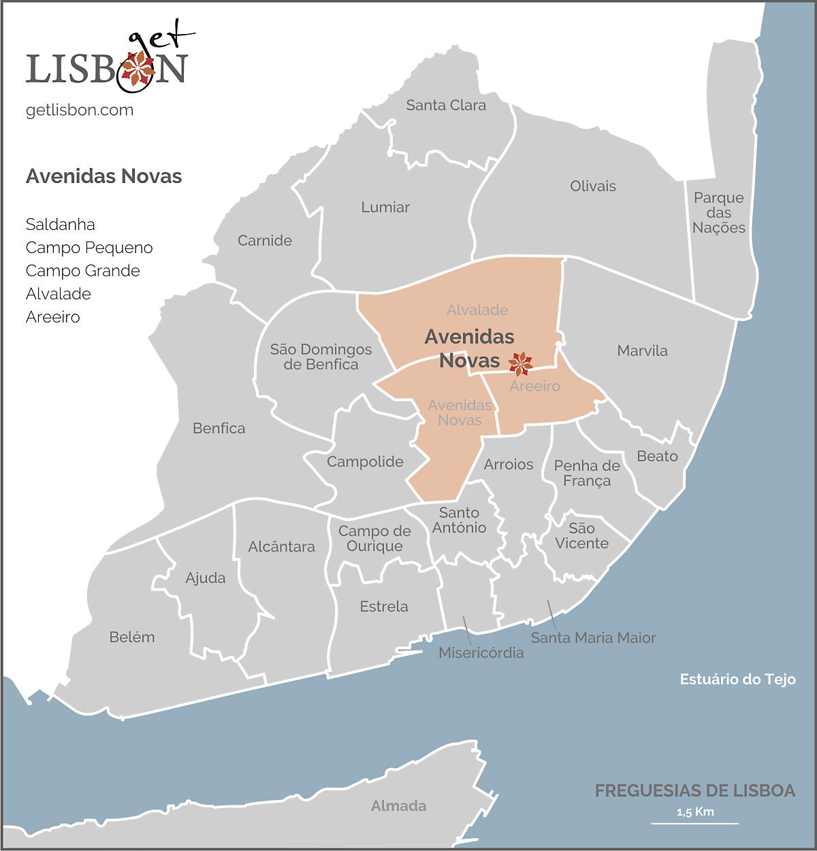 Mapa da zona Avenidas Novas
