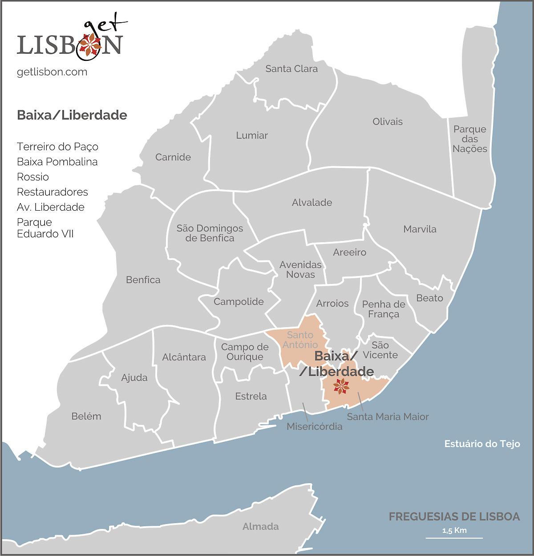 Mapa da zona Baixa/Liberdade