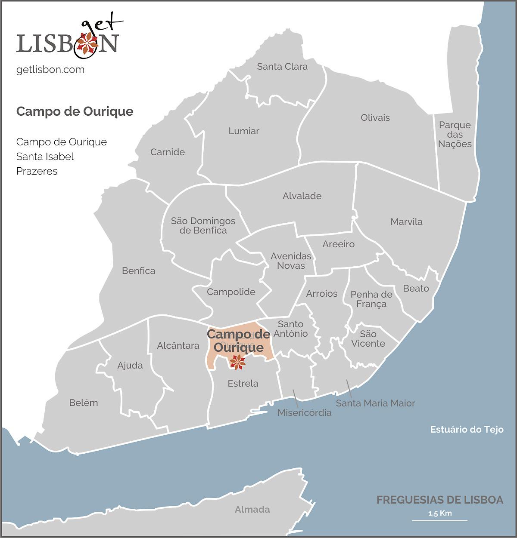 Mapa da zona de Campo de Ourique