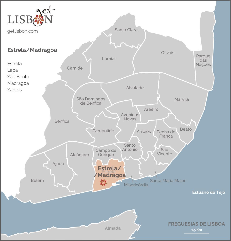 Mapa da zona Estrela-Madragoa