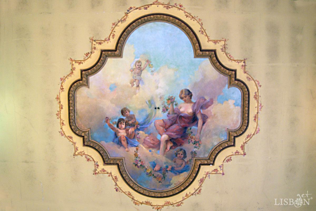 Pintura do tecto do Salão Nobre do Solar dos Zagallos