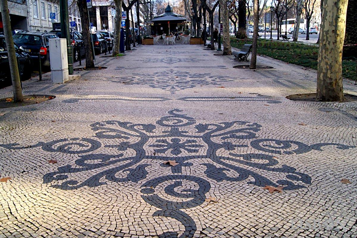 Calçada Portuguesa: segundo troço da Avenida da Liberdade, 1900/08