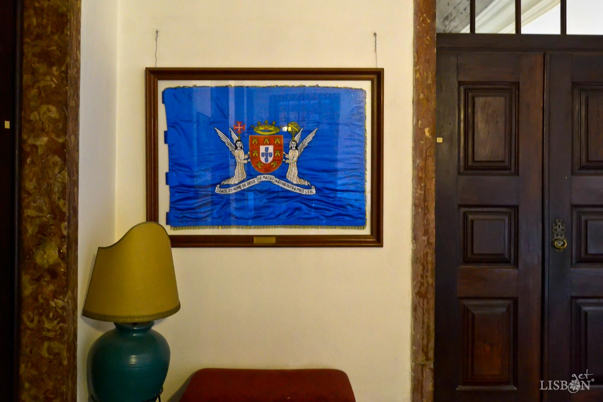 The flag of Leal Senado, in the Palace of Independence, Lisbon
