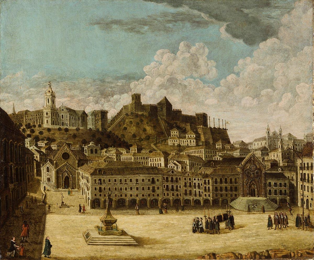 A Praça do Rossio com a fachada do Hospital Real de Todos os Santos em primeiro plano, antes do Terramoto de Lisboa de 1755.