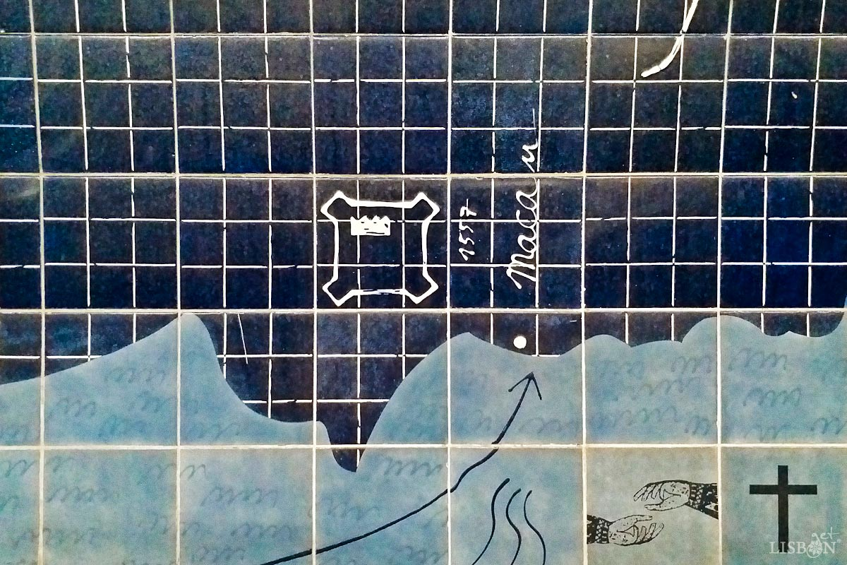 Macau is represented in the tile panel of the Parque metro station, Lisbon
