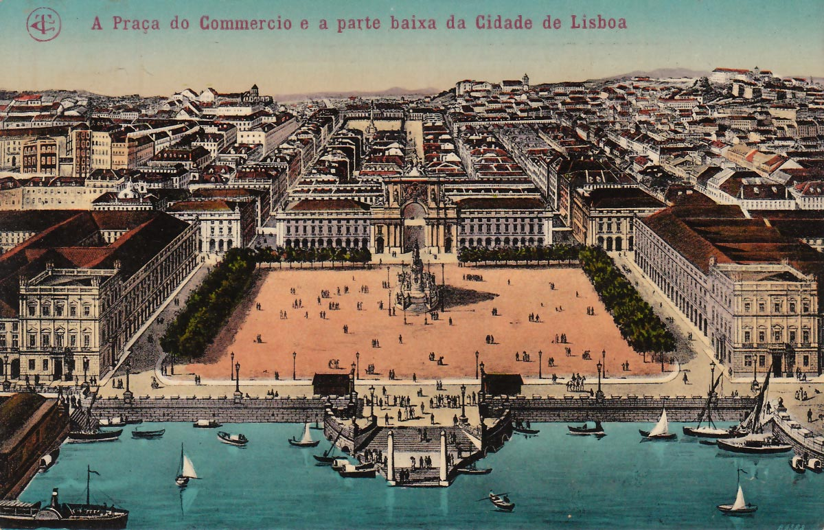 Bilhete postal que ilustra a  Praça do Comércio, lugar do antigo Terreiro do Paço, Lisboa
