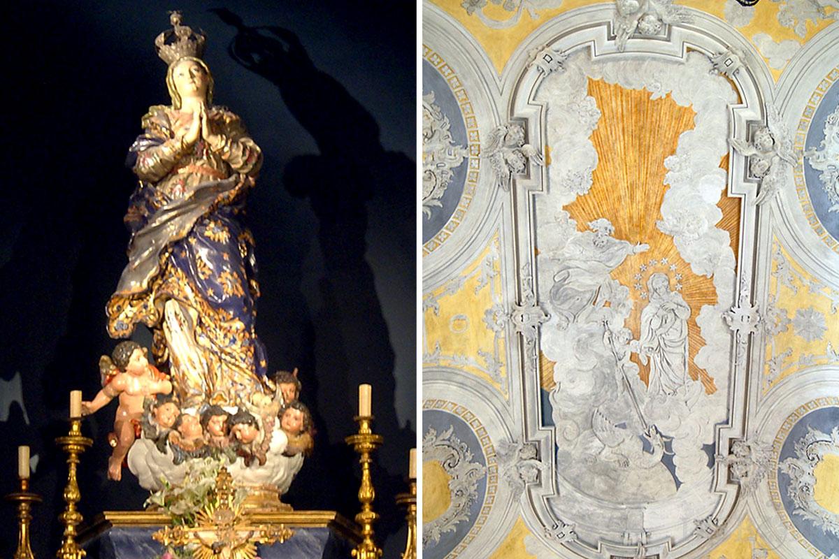(À direita) imagem de Nossa Senhora da Conceição. (À esquerda) Triunfo da Imaculada Conceição.