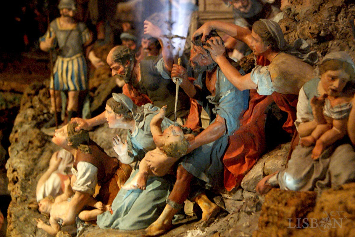 Scenes of the society of the time coexist with the biblical narratives as the Massacre of the Innocents.