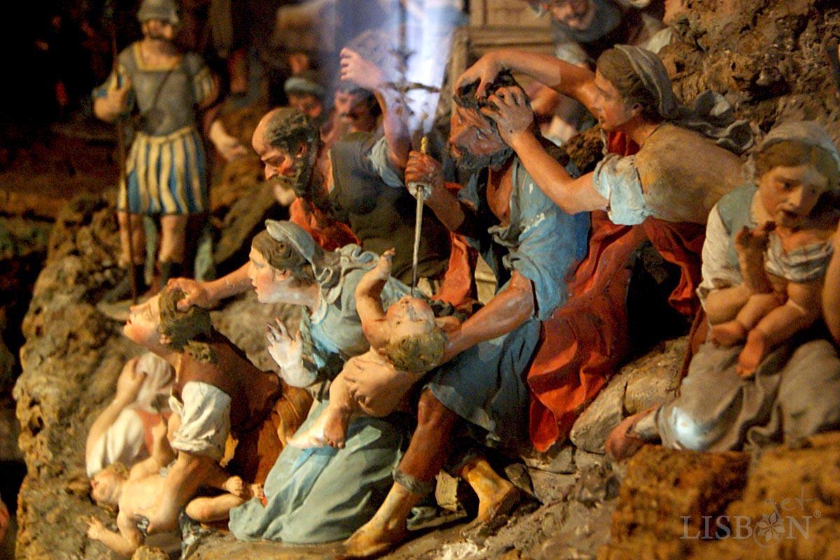 Cenas típicas da sociedade da época convivem com as narrativas bíblicas como o Massacre dos Inocentes.