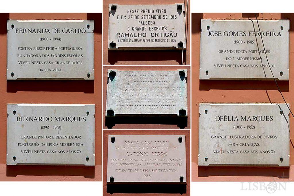 As 7 placas evocativas do nº6 da Rua João Pereira da Rosa
