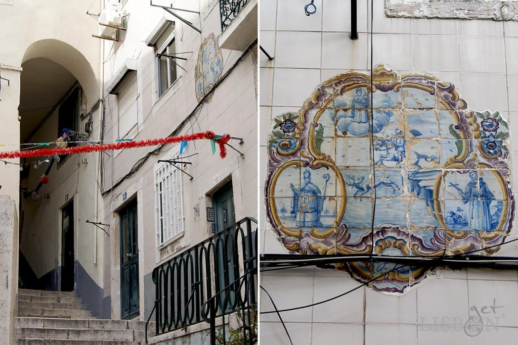 Tilework panel of the 3rd quarter of the 18th century in the no.10 of Beco do Maquinez in Alfama