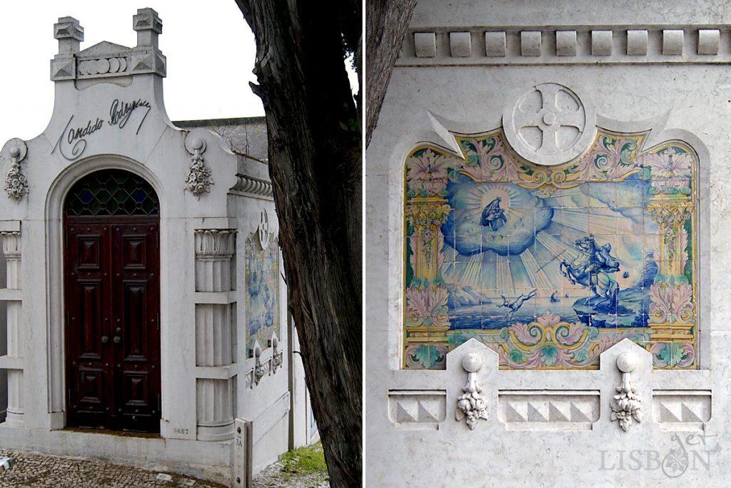 Registo de azulejos 1915/17, num jazigo do Cemitério dos Prazeres