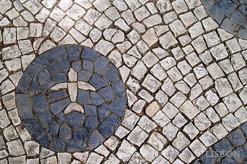 A bird in the middle of the Portuguese pavement design, Avenida da Liberdade