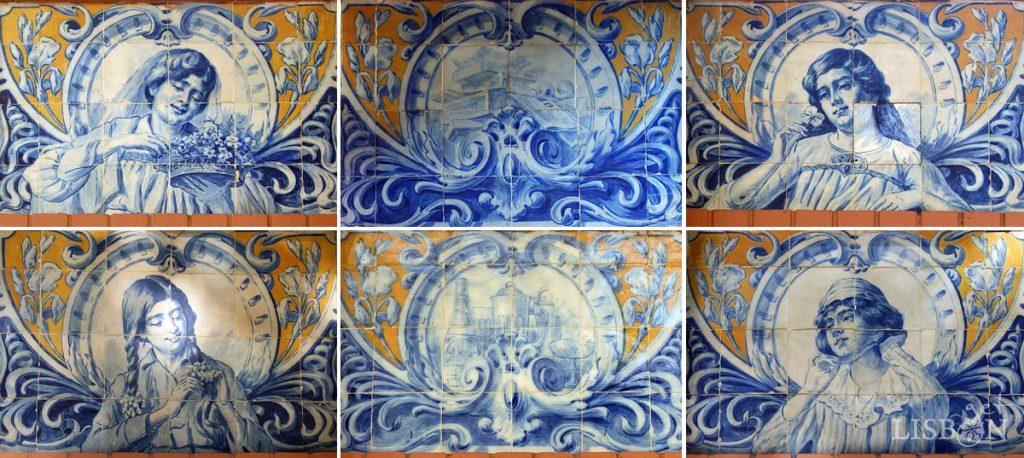 Painéis de azulejos do quiosque WC do Jardim Constantino