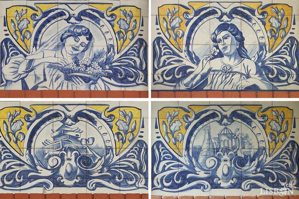 Painéis de azulejos do quiosque WC do jardim do Poço do Bispo