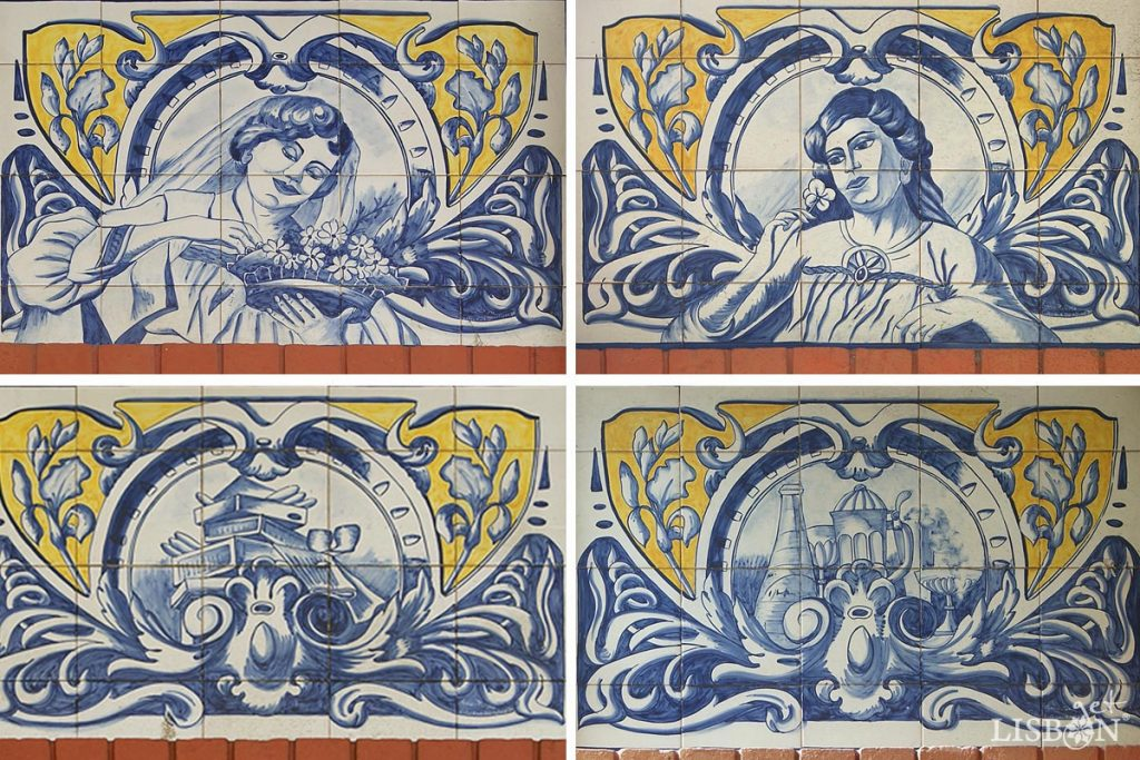 Tiles panels of the WC kiosk of the Poço do Bispo Garden