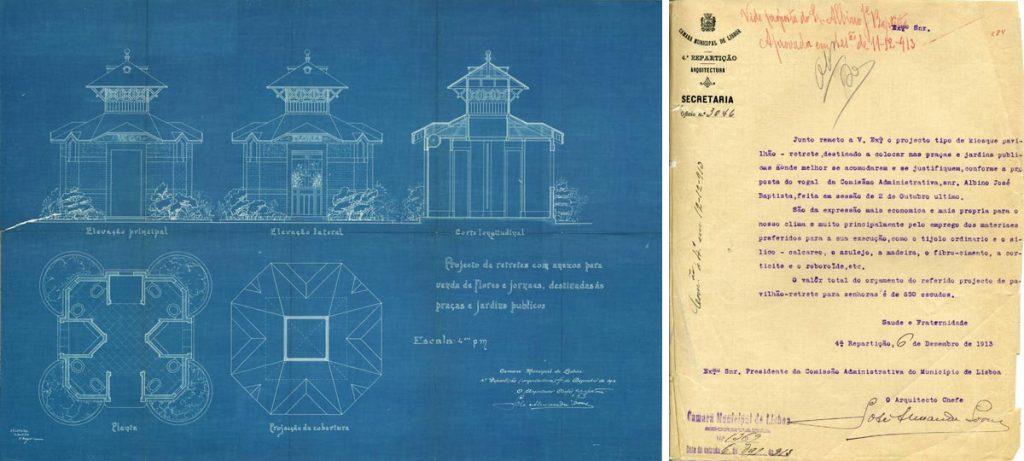 Arquivo Municipal de Lisboa; Projecto e memória descritiva dos quiosques WC; 1913;  José Alexandre Soares