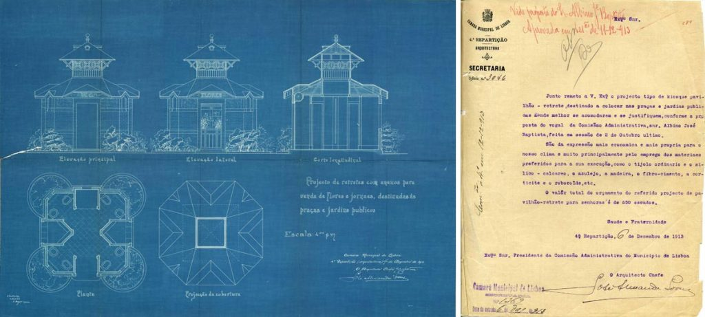 Arquivo Municipal de Lisboa; Project of the WC kiosks; 1913;  José Alexandre Soares (18--)