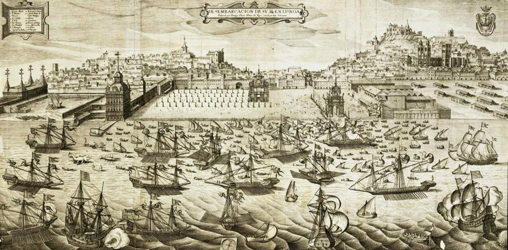 Desembarque de Filipe II de Portugal em Lisboa em 1619. Juan Bautista Lavanha, Gravura de 1622