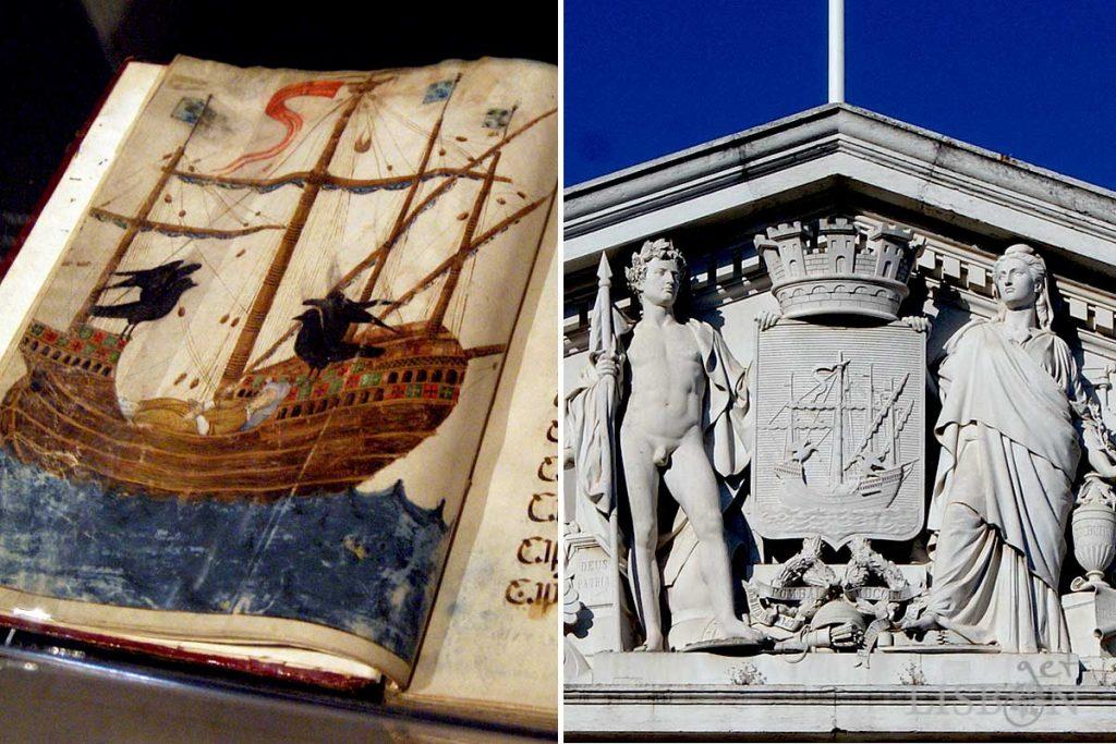 Iluminura do Livro Carmesim de 1502 e brasão do frontão que encima a fachada da Câmara Municipal de Lisboa