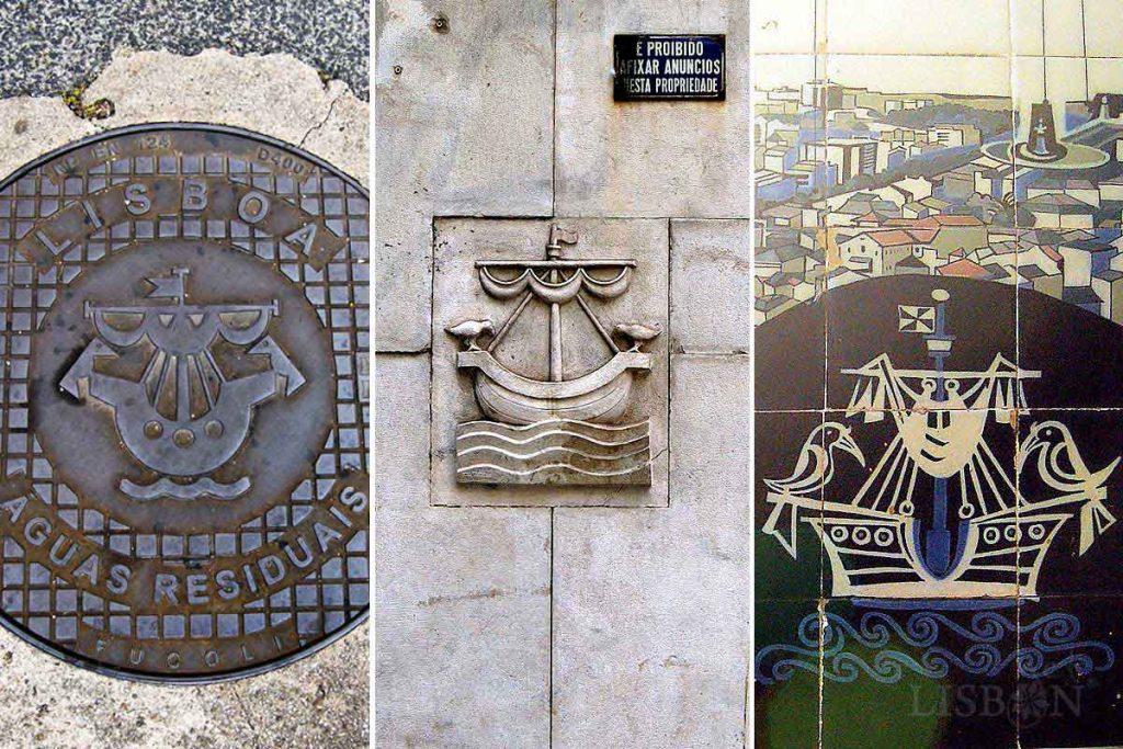 Variações sobre o símbolo da cidade de Lisboa pós 1940