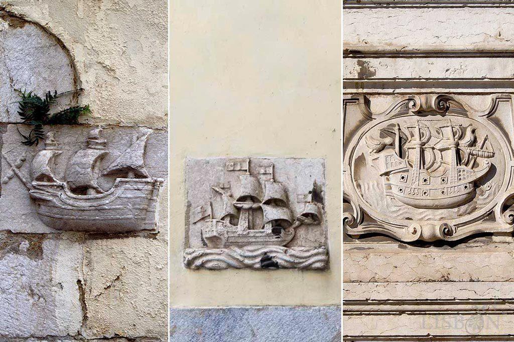 Stone caravels in Travessa de São João da Praça and in the façade of the drinking fountain of D'El Rei, in Alfama