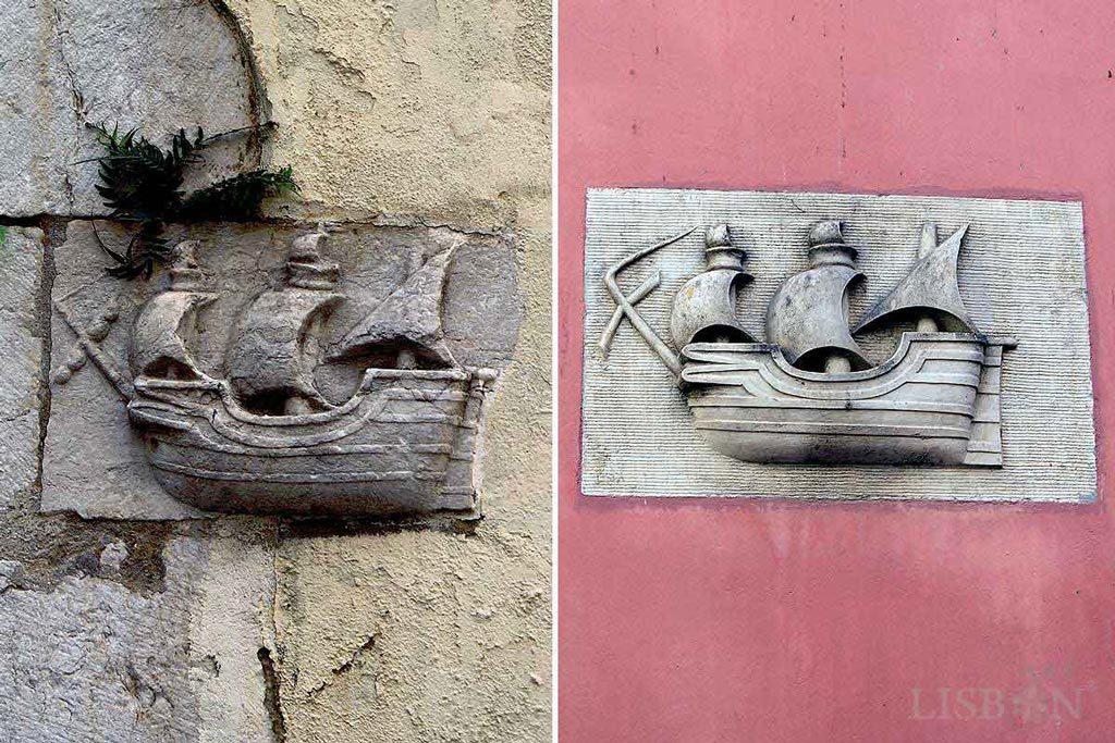 Stone caravels in Travessa de São João da Praça and Rua da Galé, Alfama
