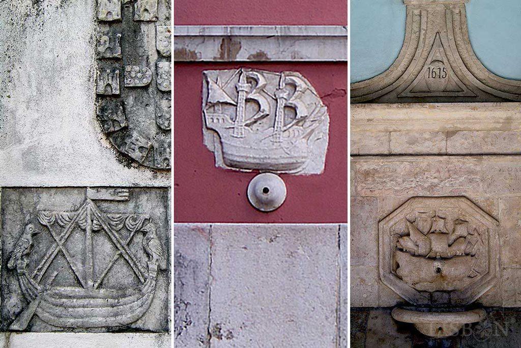 Stone caravels of the drinking fountains of Andaluz, Campo de Ourique and Rua da Boavista