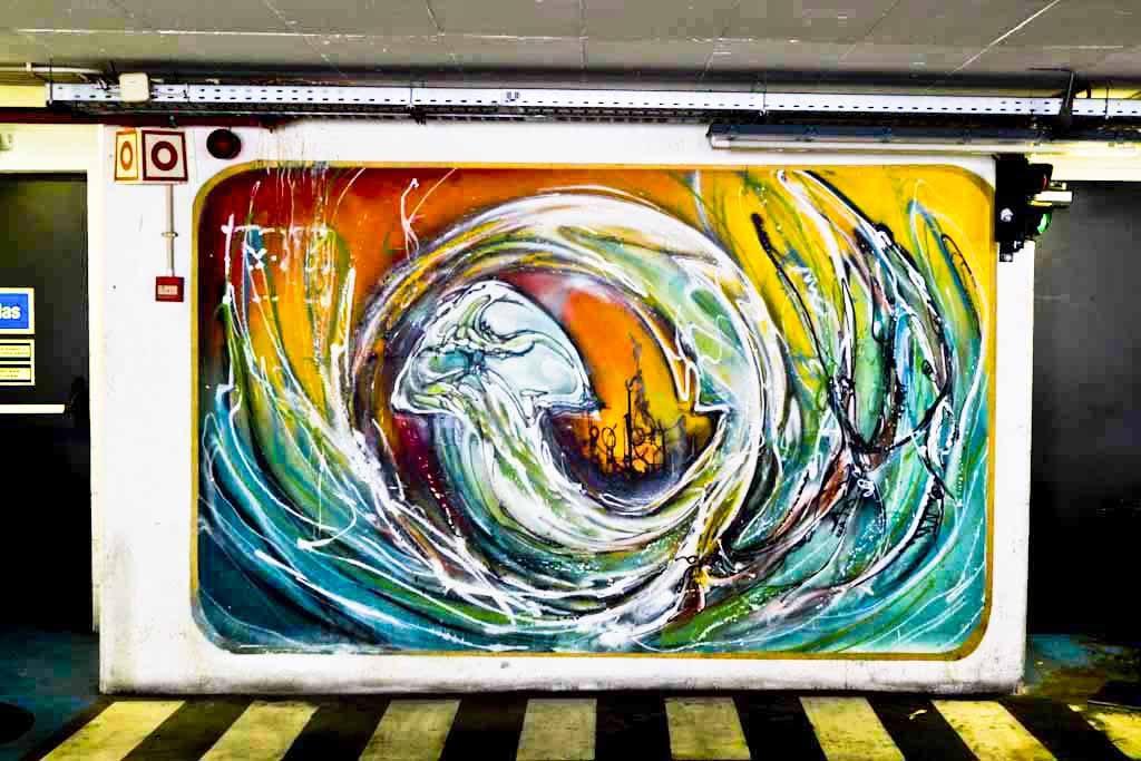 Urban Art of Chão do Loureiro Car Park. Ram's artwork on the 6th floor