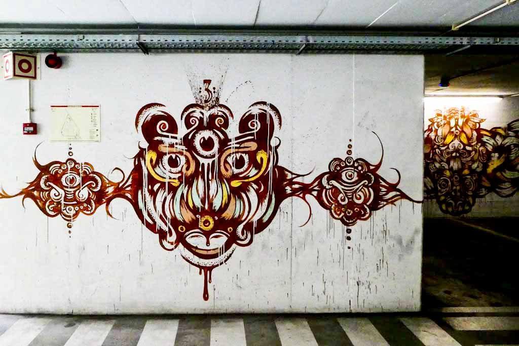 Urban Art of Chão do Loureiro Car Park. Paulo Arraiano's artwork. Contrary to all the other floors, here the almost-monochromatic predominates.