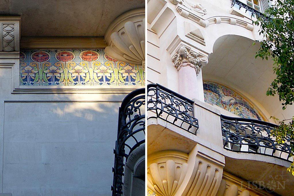 Intervenções de azulejos arte nova de J. Pinto no nº 25 da Rua Alexandre Herculano