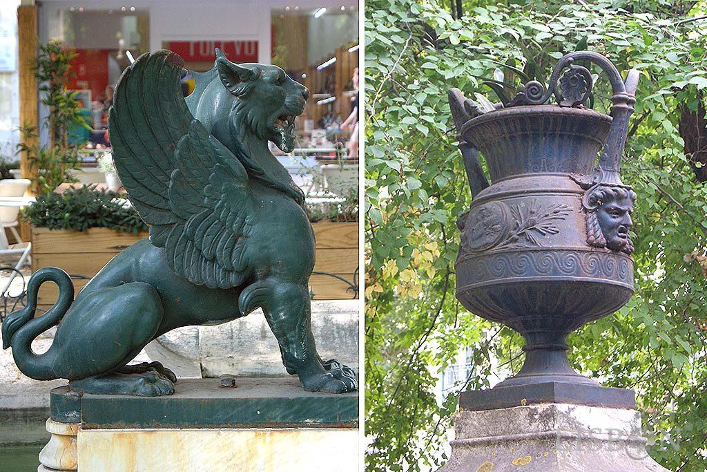 As últimas peças escultóricas que encontramos, antes de desembocar na grande Praça dos Restauradores, são elementos decorativos em ferro fundido pintado.