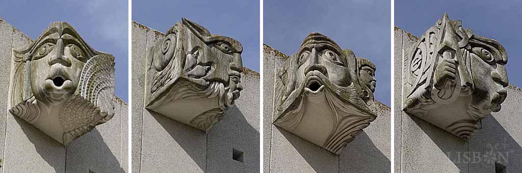 Gargoyles of the south façade. From left to right: A Guardiã das Ondas Hertzianas (the guardian of the Hertzian waves); the dichotomies O Bem e o Mal (the good and the bad) and O Velho, o Novo e a Morte (the old, the new and the death); and A Guardiã do Alfabeto (the guardian of the alphabet).