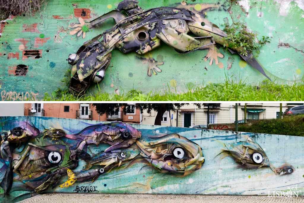 Obras de Bordalo II em Lisboa: Osga e Peixes, Alcântara
