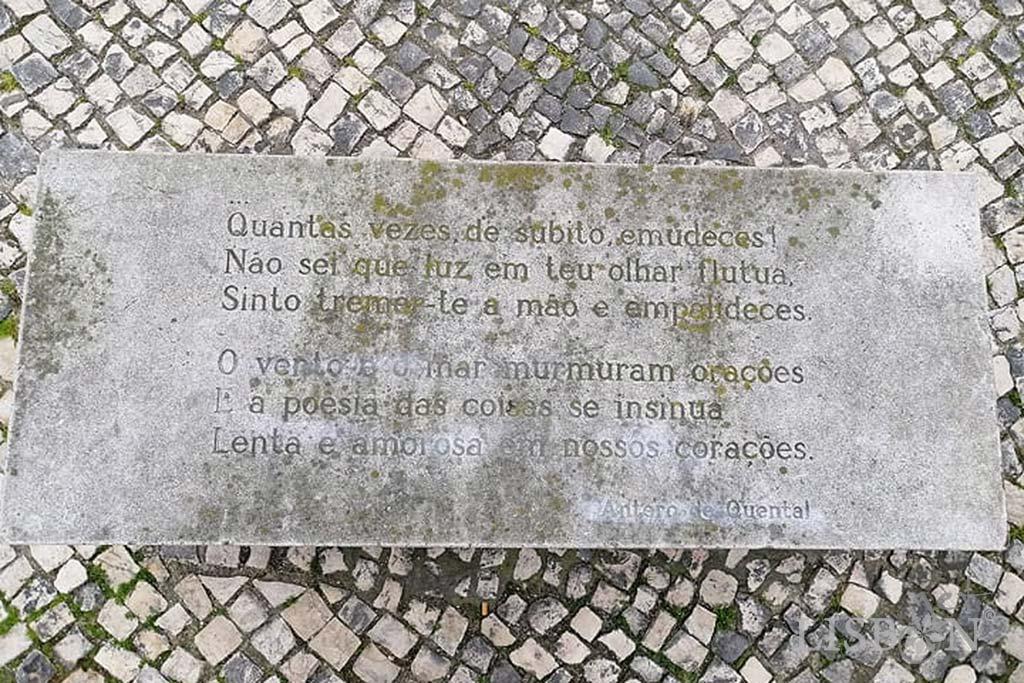 O banco do Jardim das Amoreiras tem um poema de Antero de Quental
