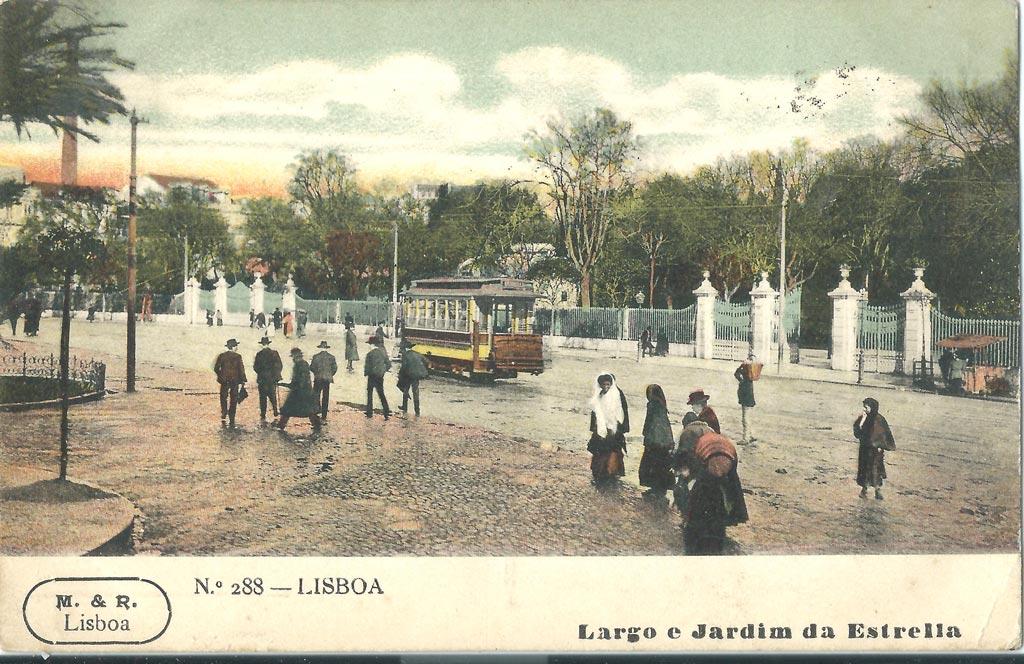 Postcard showing a tram in front of Estrela Garden