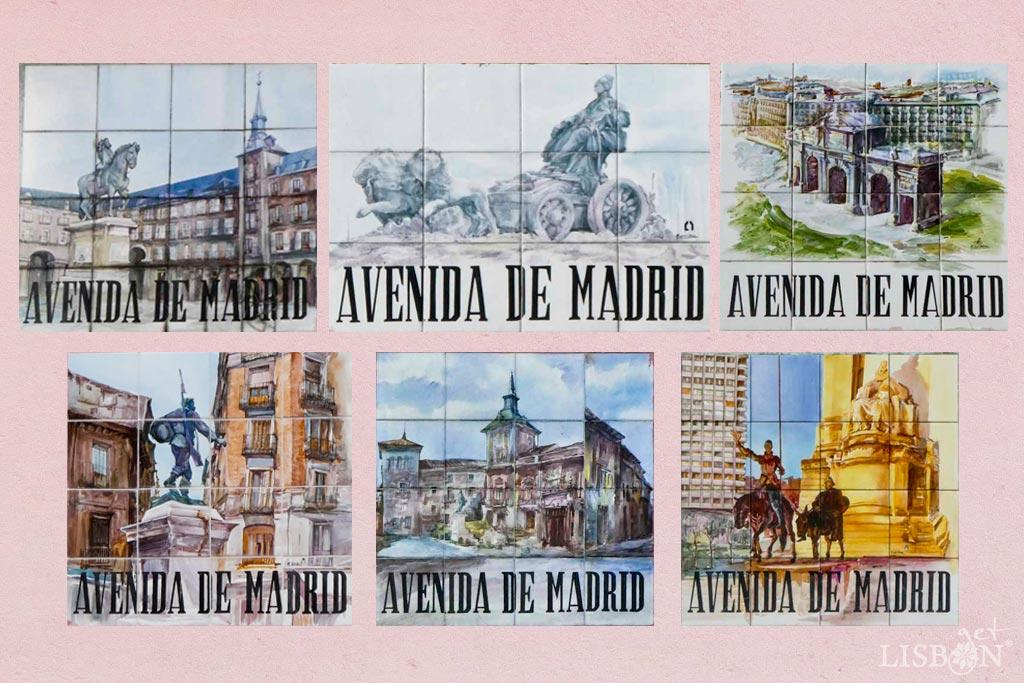 Placas toponímicas da Avenida de Madrid. Em toda a extensão desta avenida podemos encontrar seis placas toponímicas de azulejos com pinturas diferentes alusivas a Madrid e assinadas por R. Del Olmo.
