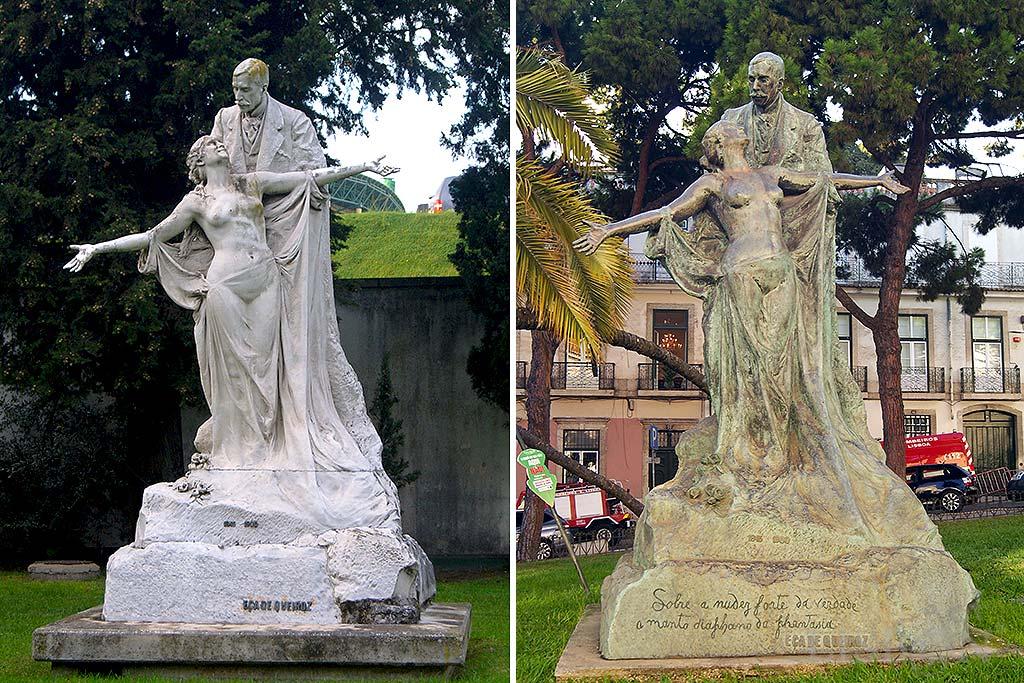 Monument of Eça de Queiroz. Left side: the original in stone, gardens of the Lisbon Museum - Pimenta Palace; right side: bronze replica in Barão de Quintela Square.