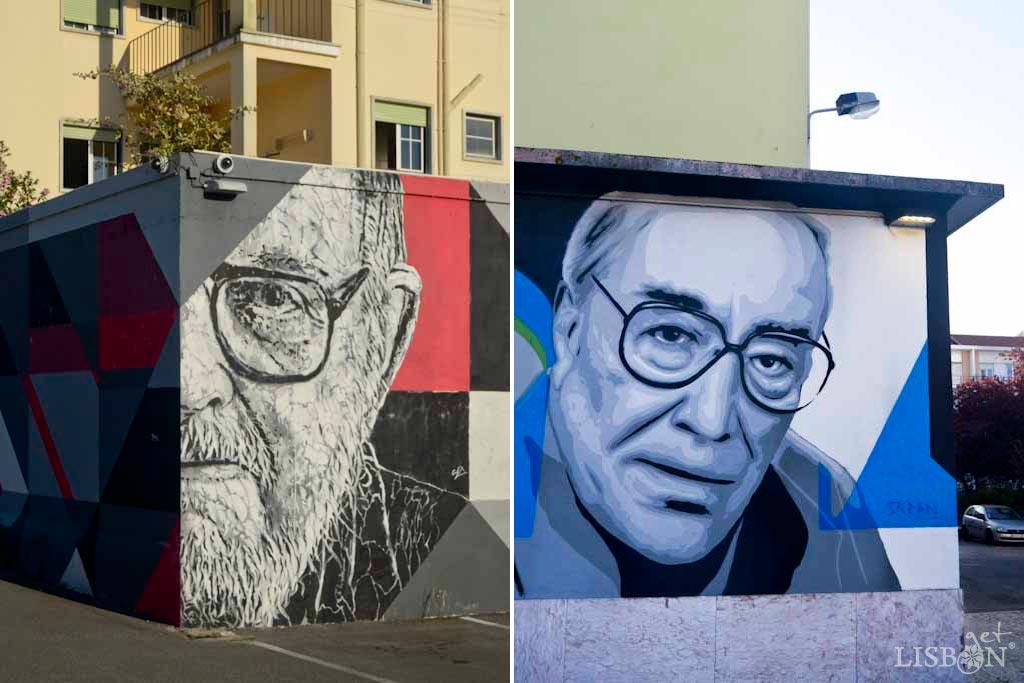 Tributes to the architect Nuno Teotónio Pereira by João Samina and to the writer José Cardoso Pires by SKRAN, in Alvalade Market