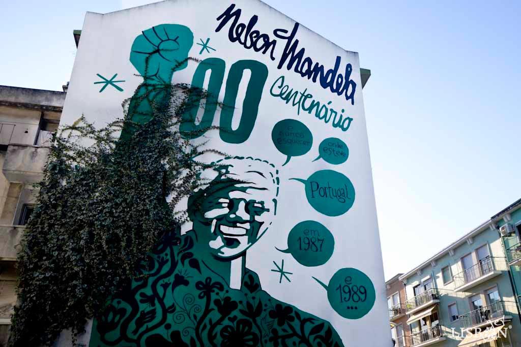 Urban art tributes to personalities: mural Nelson Mandela by Nuno Saraiva in Rua João Soares