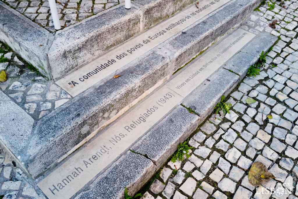 Tribute to Hannah Arendt, at the intersection between Rua da Sociedade Farmacêutica and Rua Conde de Redondo.