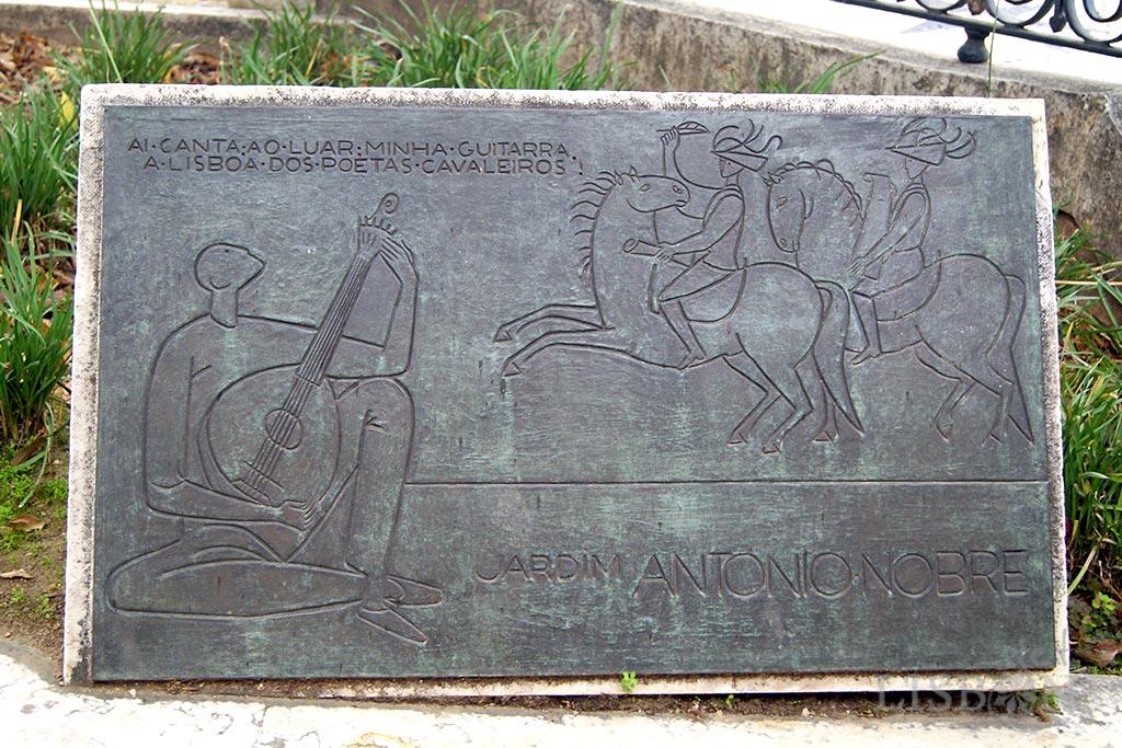 Toponymic plaque of the São Pedro de Alcântara Garden or António Nobre Garden
