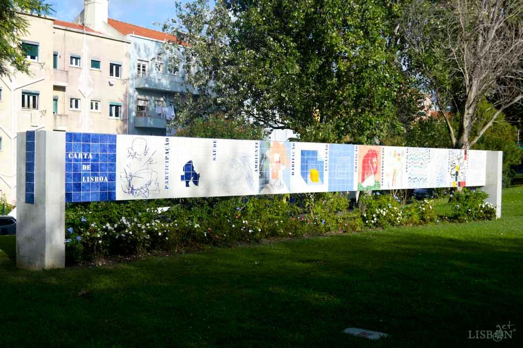 Carta de Lisboa Tile Mural in Fernando Pessa Garden