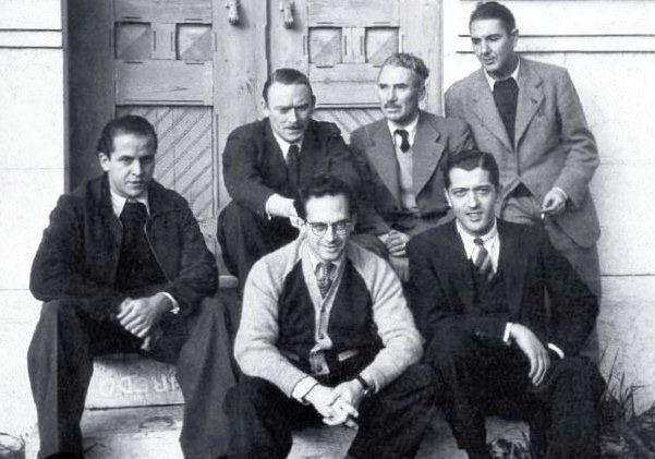 """Some members of the """"team of António Ferro"""", National Propaganda Secretariat, 1939, from upper left to lower right: Thomaz de Mello (Tom), Fred Kradolfer, Emmérico Nunes, Bernardo Marques, Carlos Botelho e José Rocha."""