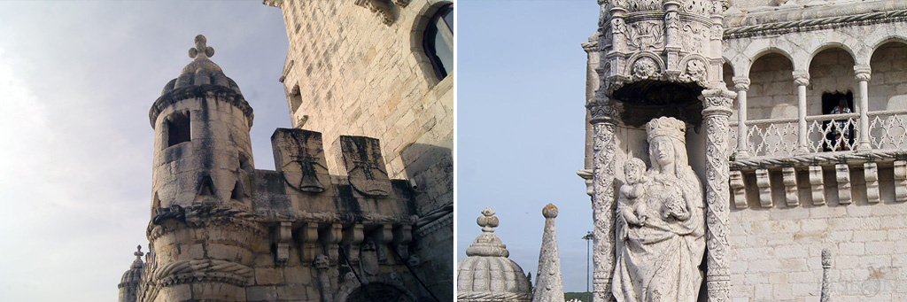 Merlões armoriados com a cruz de Cristo e imagem de Nossa Senhora do Bom Sucesso sob um baldaquino neo-gótico