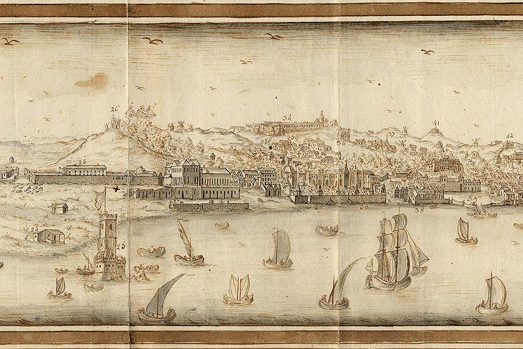 Belém Tower in Vista e perspectiva da Barra, Costa e Cidade de Lisboa, Bernardo de Caula, 1763 detail); National Library of Portugal, available on: http://purl.pt/13906