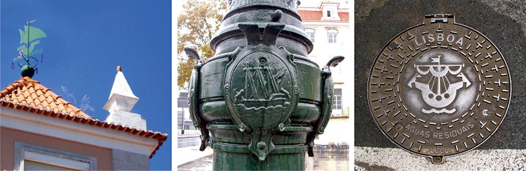 Wind vane in Alameda D. Afonso Henriques; Street Lamp in Corpo Santo Square; Manhole cover in Rua da Boavista