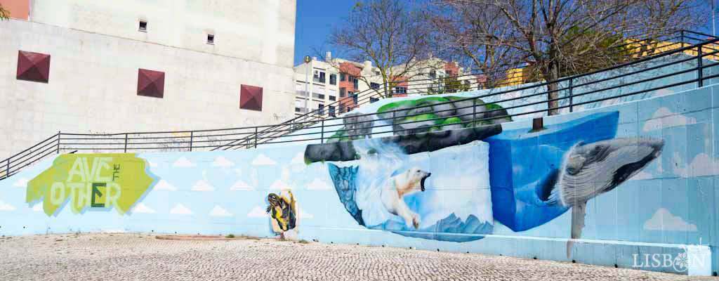Save the Mother Earth Mural in Rua Dr. Egas Moniz, Odivelas