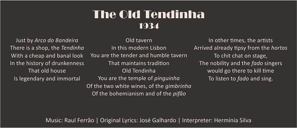 Lyrics of the fado Velha Tendinha