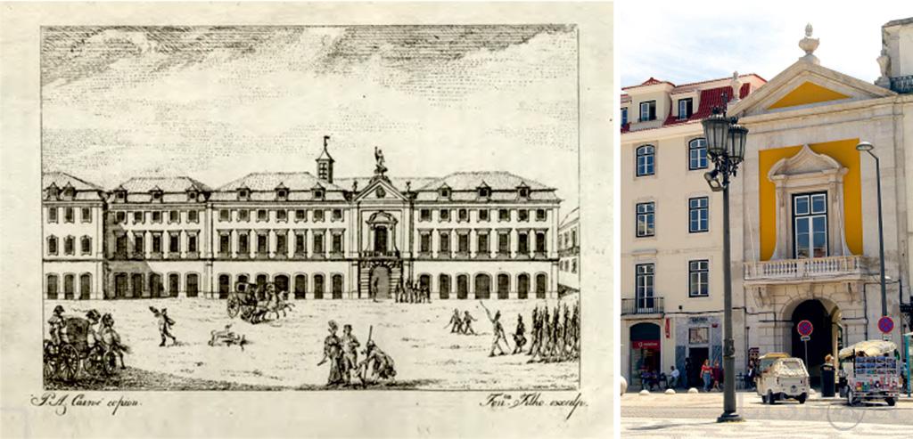 Inquisition Palace (1816) in Jornal de Bellas Artes, ou Mnemosine Lusitana - Gabinete de Estudos Olisiponenses (GEO), Col. Vieira da Silva; Arco do Bandeira (2021)